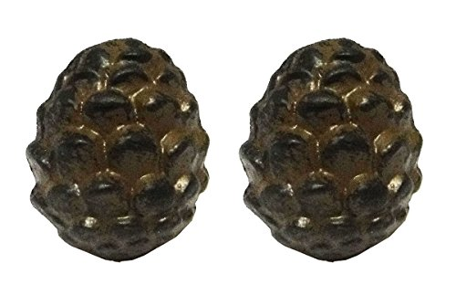 (Rustic Pine Cone Metal Drawer Pulls or Bars (Set of Two Knobs))