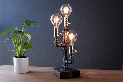 Cactus Industrial Steampunk table pipe lamp with Globe Edison bulb and wood base from Urban Industrial Craft