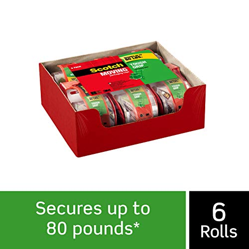 Scotch Tough Grip Moving Packaging Tape, 1.88 in. x 22.2 yd, 1.5 in Core, 6 Rolls with Dispenser per Pack, Tough grip on all box types including boxes made with 100% recycled fibers(150-6)