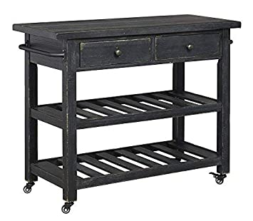 Signature Design By Ashley Marlijo Kitchen Cart Rustic Black