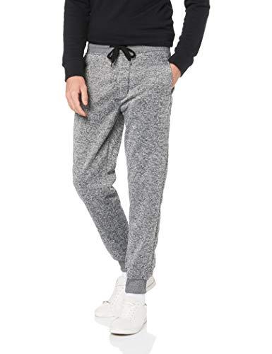 Southpole Men's Basic Fleece Marled Jogger Pant-Reg and Big & Tall Sizes, Grey, Medium (Fuzzy Sweatpants Men)