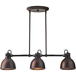 "Stone & Beam Emmons Triple Pendant With Bulbs, 8.25""-56.25""H, Oil-Rubbed Bronze"