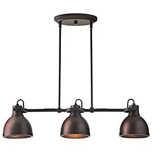 """Stone & Beam Emmons Triple Pendant With Bulbs, 8.25""""-56.25""""H, Oil-Rubbed Bronze"""