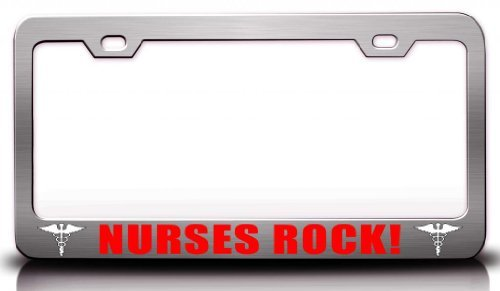 Tollyee Nurses Rock! Paramedics Nurse Medical Steel Metal License Plate Frame Ch # 12 ()
