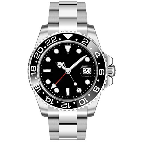 Sapphire Glass Parnis 40mm Black Dial Ceramic Bezel Stainless Steel Band GMT Function Automatic Movement Men