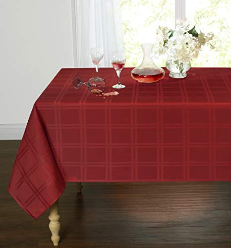 GoodGram Spill Proof/Stain Resistant Plaid Tartan Fabric Tablecloth Assorted Colors & Sizes (60 in. W x 102 in. L Oblong, Burgundy)]()