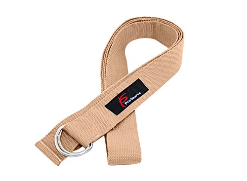 ProSource Yoga Strap with Metal D-Ring, Beige