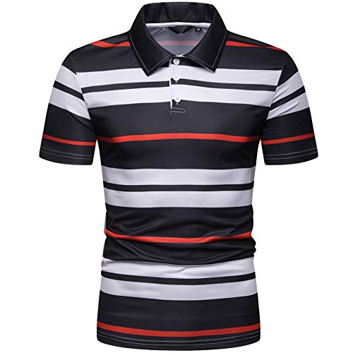 - Elegeet Mens Short Sleeve Polo Shirt Casual Striped Classic Performance T-Shirt Red X-Large