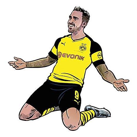 Wandsticker Bvb Comic Spieler Paco Alcacer Borussia Dortmund