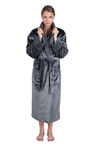 Womens Spa Style Full Length Plush Robe with Velvet Collar & Cuffs Plus Sizes Avail.