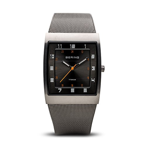 BERING Time 11233-077 Mens Titanium Collection Watch with Mesh Band and Super Hardened Mineral Glass. Designed in Denmark. from BERING