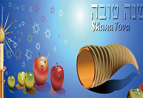 Laeacco Rosh Hashanah Backdrop 7x5ft Vinyl Judaic Traditional Festival Horn Red Green Greeting Apples Golden Candlesticks Shana Tova Blue Photo Background Judaism Belief Happy New Year Party Shoot