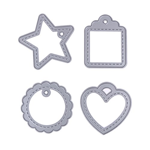 4pcs Lovely Tags Metal Cutting Dies Stencils for DIY Scrapbooking/photo album Decorative Embossing DIY Paper (Acrylic Scrapbooking Tags)