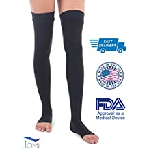 Jomi Compression Thigh High Collection, 20-30mmHg Surgical Weight Open Toe 241 (Large, Black)