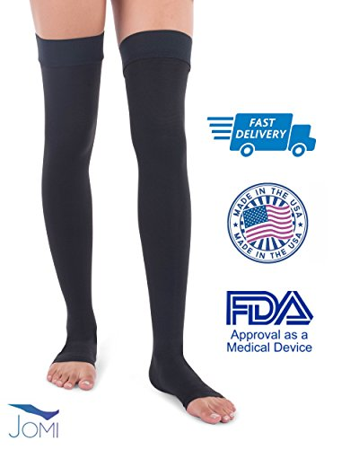 Jomi Compression, Unisex, Thigh High Collection, 20-30mmHg Surgical Weight Open Toe 241 (Medium, Black)