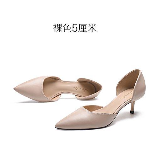 Chica Hueco Sandalias Tacones Verano GAOLIM De Mujer Crudo5Cm De Punta 5 Zapatos Hembra Mujer Color Calzado Fina Con Desnuda Seguido Altos Cm De De Color wHHx8