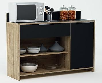 Mueble auxiliar para microondas o aparador color roble y negro ...