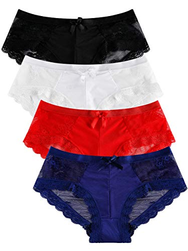 Panties Underwear Hipster Panties Sexy Lace Briefs for Women (4 Pack) (US 8)