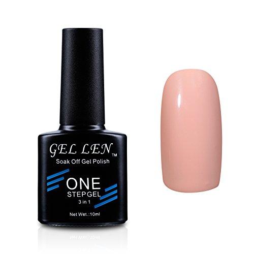 Gellen Soak Off One Step Gel Nail Polish No Need Base Top Coats 3 In 1 UV/LED Cure 10ml Color #04 (7 Day Nail Polish)