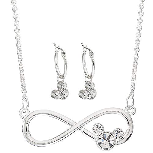 Disney Mickey Mouse Jewelry for Women and Girls, Silver Plated Crystal Infinity Necklace and Hoop Earrings Set Mickey's 90th Birthday Anniversary
