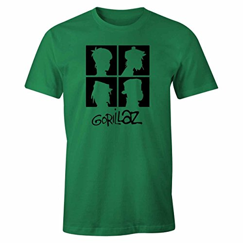 Gorillaz Cool Retro Inspired Black Print and Text Mens Top - T-Shirt, Irish Green, Print Color-Black, (Cool T-shirts Uk)
