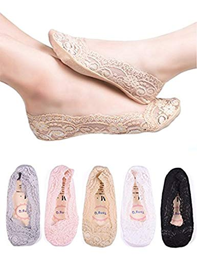 Little Girls/Women No Show Low Cut Lace Flats Non skid Boat Liner Footies Peds Socks, Assorted Colors, Mom/5 Pairs/Foot length 8.27