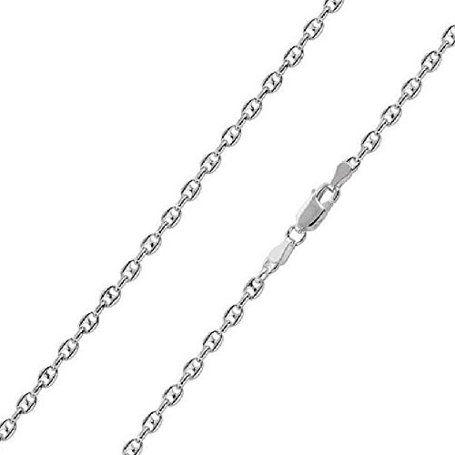 2.4mm, 3.4mm, 4.2mm Sterling Silver Puffed Anchor / Mariner Chain Necklace, Made in Italy (4.2mm-18