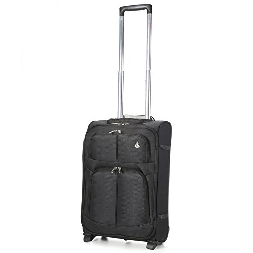 "Aerolite Super Lightweight Travel Carry On Cabin Hand Luggage Suitcase with 2 Wheels, Approved for Ryanair, Easyjet, British Airways, Virgin Atlantic, Flybe and Many More, 21"", Black"