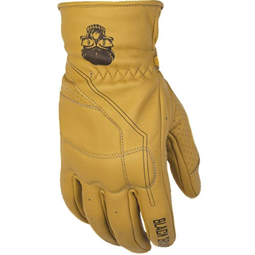 Black Brand Men's Leather Pinstripe Motorcycle Gloves (Tan, -