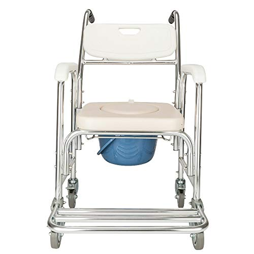 (Aluminum Shower Commode Wheelchair,Drive Medical All-in-One Transport Wheelchair with Opening Padded Commode Seat,Rehab Shower Commode Chair with 4 Locking Casters)