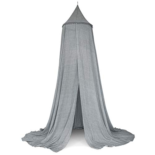 Zeke and Zoey Hanging Grey Bed Canopy with Pom Poms, Drapes -Hideaway Tent Canopies for Girls, Boys, Kids Rooms, Beds or Cribs. Nursery Decoration- Sheer, Flowing -Child, Play, Reading, Grey