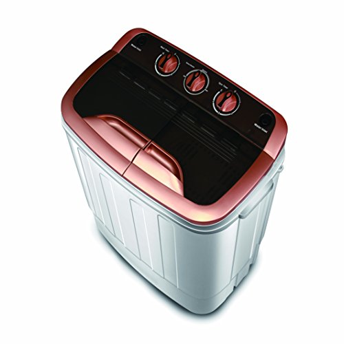 Mini Space Portable Compact Twin Tub 13Ibs Capacity Washing Machine and Spin Dryer Black and Gold