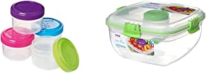 Sistema To Go Collection 1.18 Oz. Salad Dressing Containers, Pink/Green/Blue/Purple, 4 Pack, BPA Free, Reusable & Food Storage Container, 4.6 Cup