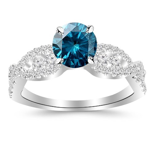 1.6 Carat Designer Twisting Eternity Channel Set Four Prong Diamond Engagement Ring 14K Gold with a 1 Carat Round Cut AAA Quality Blue Diamond (Heirloom Quality)