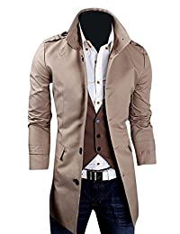 Kiistyle Mens Trench Coat Casual Stand Collar Solid Color Single Breasted