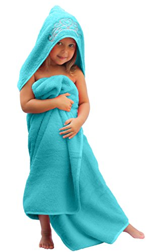 """Ultra-Homes Princess Hooded Kid Towel (Ice Blue), 27.5"""" x 49"""", Plush and Absorbent Luxury Bath Towel! 600 GSM, 100% Cotton"""