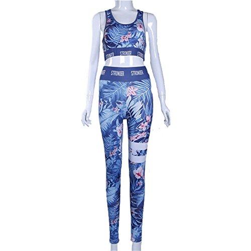Gene Peg Womens Yoga Running Print Fitness Bra+Pants Leggings Gym Workout Sports Tights Athletic Trousers