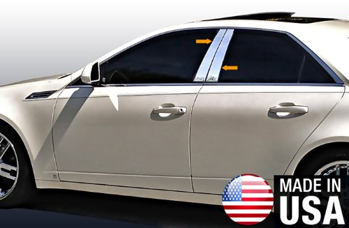 Made in USA! Works with 2008-2013 Cadillac CTS 4 PC Stainless Steel Chrome Pillar Post Trim ()