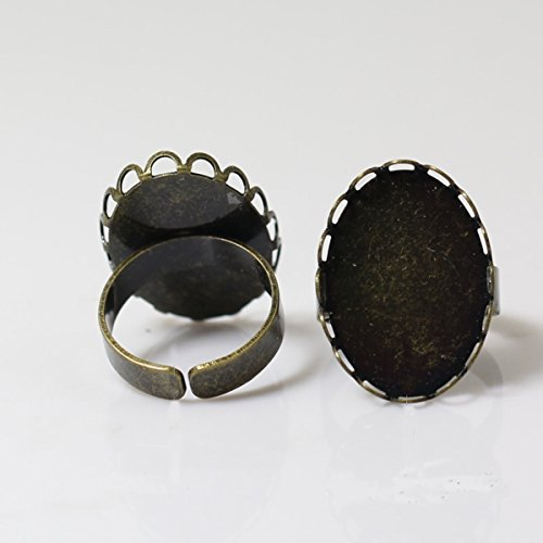 Adjustable Brass Ring Base Oval Shape Ring Blank Fit Gemstone Handmake Ring For Her (18x25mm, antique brass)