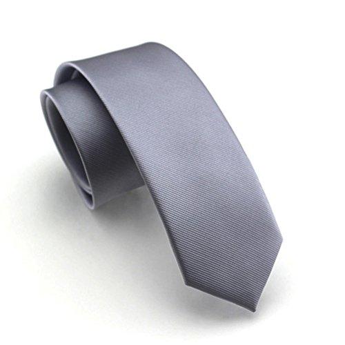 (Elviros Mens Eco-friendly Fashion Solid Color Slim Tie 2.4'' (6cm) Dark Silver)