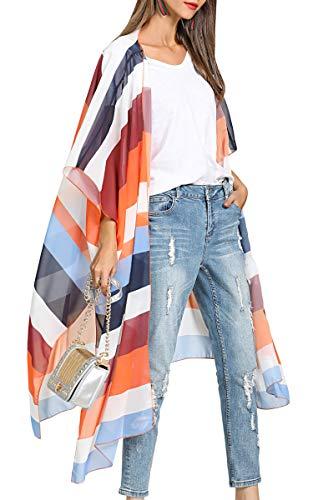 Kimono Top Floral (Hibluco Women's Casual Oversized Floral Kimono Cardigan Sheer Tops Loose Blouse)