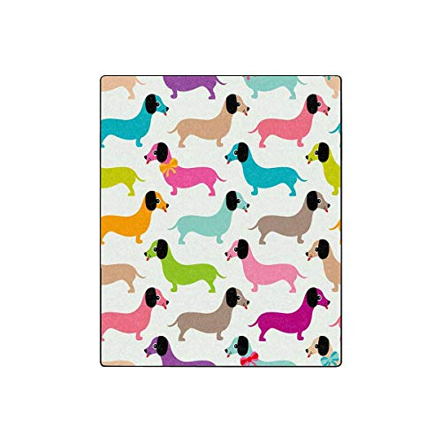 INTERESTPRINT Kids Retro Dachshund Puppy Cozy Soft Microfleece Travel Blanket, Great for Travel or Lounging at Home (50