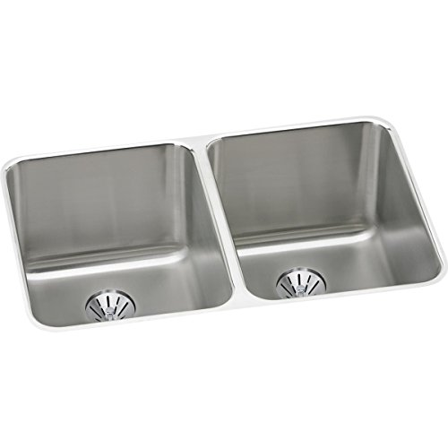 Elkay Lustertone ELUH322010PD Equal Double Bowl Undermount Stainless Steel Kitchen Sink with Perfect (Elkay Gourmet Sink Double Bowl)