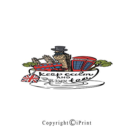 Tea Party Large Premium Quick Dry Cotton & Microfiber Bath Towel,Great Britain and London Culture Landmarks Icon Set in Tea Cup with Popular Quote Decorative,for Travel Sports & Beach,W70.8 x L31.4 M