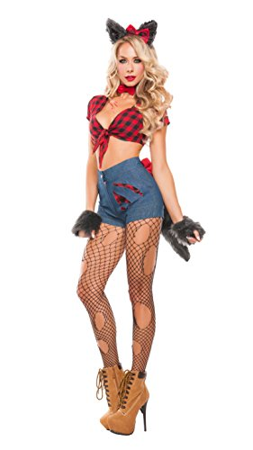 Wolf Ears Tail Costume Set (Starline Women's Sexy Hungry Werewolf 6 Piece Costume Set, Red/Blue, Medium)