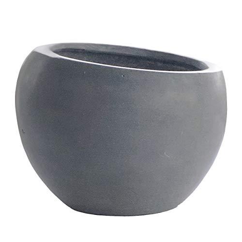 Cera Tilt Modern Flower Pot, Grey fiberstone