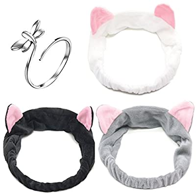 3 PCS Coral Velvet Cat Ear Makeup Shower Face Washing Headband Hairband Hair Accessories Best Makeup Headband Tool for Women