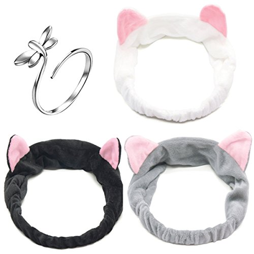 3 PCS Coral Velvet Cat Ear Makeup Shower Face Washing Headband Hairband Hair Accessories Best Makeup Headband Tool for Women Face Hair Band