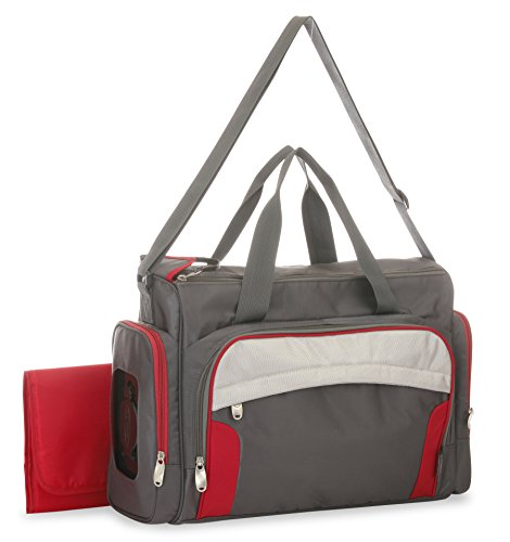 graco chili red duffle diaper bag with smart organizer system grey red baby toddler diapering. Black Bedroom Furniture Sets. Home Design Ideas