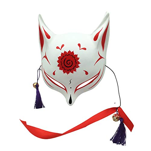 YangYong Large Fox Mask for Adults and Kids, Japanese Kabuki Kitsune Masks for Men Women Cosplay Rose Red -